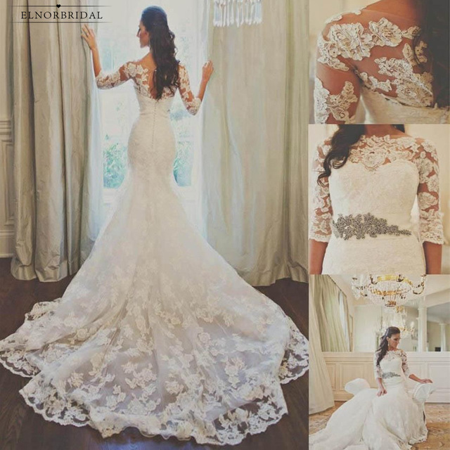 Vintage Mermaid Lace Wedding Dresses 2019 vestido de novia Long Sleeve Sheer Handmade Bridal Gowns Sweep Train gelinlik