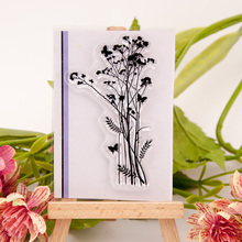 6*9cm Scrapbook DIY photo album card hand account chapters rubber product transparent seal stamp Flowers small butterfly