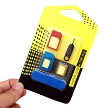 New 5 in 1 Mobile Phone Nano SIM Card Micro Standard SIM Card Adapter SIM Card Tool Set Eject Pin For iOS Android Wholesale