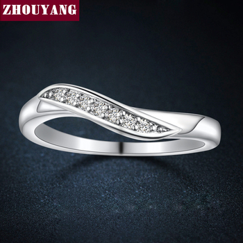 ClassiSimple 7 Pedra Branca Banhado A Ouro CZ Diamante Casamento Anel de Noivado Para As Mulheres Homem ZYR527 Completa Tamanhos Atacado