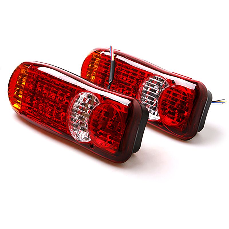 New 1 Pair 12V/24V Truck Trailer Lights LED Stop Rear Light Waterproof Camper Indicator Reverse Van Car Truck Taillight Lamp<br>