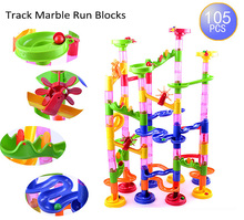 Taotown's 105pcs DIY Construction Marble Race Run Maze Balls Track plastic house Building Blocks toys for christmas 2016 Hot