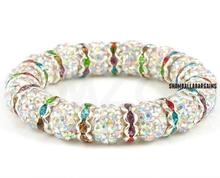 Free Shipping !Vintage!Big Promotion! Spacer Metal 10mm Well Crystal Beads Shamballa Bracelet.Wonderful New Style Crystal .(China)