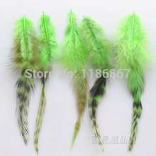 Wholesale price!100pcs green BARRED ROOSTER GRIZZLY FEATHERS hair extension feather chicken grizzly plumages 5-6 inch KX08