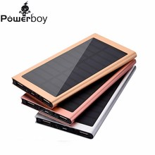 Ultra Thin 8000mAh Solar Power Bank Portable External Battery Pack Super Slim Metal Dual USB Charger For iPhone Samsung iPad