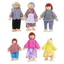6pcs Wooden Puppet Toys Cartoon Family Dolls For Children Play House Gift Family Party Supllies (Random Color)