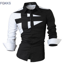 FGKKS 2017 New Long Sleeve Slim Men Dress Shirt Brand New Fashion Designer High Quality Solid Male Clothing Fit Business Shirts