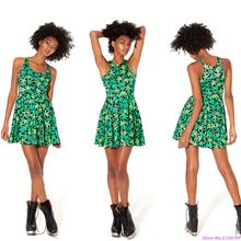 Green Leaves Print Dresses 3D Printed Sexy Club Dress High Quality Pleated Sports Tennis dress For Girls