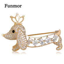 Funmor Pave CZ Gold Crown King Dog Brooches For Women Kids Hollow Baguette Cut Tail Black Eyes Animal Hijab Pins Copper Jewelry(China)
