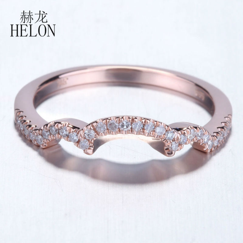 HELON Women's Jewelry Fine Ring Pave.2ct Natural Diamonds Halo Engagement Wedding Band Setting Solid 14K Rose Gold