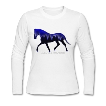 For Women Night Mountain Horse Tshirt Discount Round Collar T Shirt Long Customized Womens Full Sleeve T Shirts