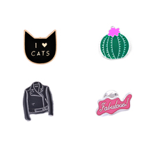 "Cat ""I Love Cats Cactus"" Clothes Enamel Pins Brooch Jacket Collar Decorative Jewelry Classic Anime Cartoon Brooches"