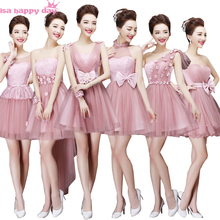 dusty pink bridesmaid princess beautiful size 8 bridemaids fall party dresses bride maids dress for wedding party B2707(China)