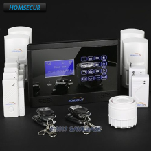 HOMSECUR NEW Wireless&Wired GSM SMS Home Security Alarm System Kit + 2 Glass Vibration/Break Sensors