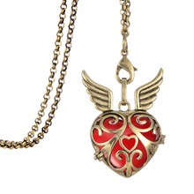 My Shape Perfume Angel Wings diffuser chain oil snap open heart necklace with lobster claw clasp womens jewellery