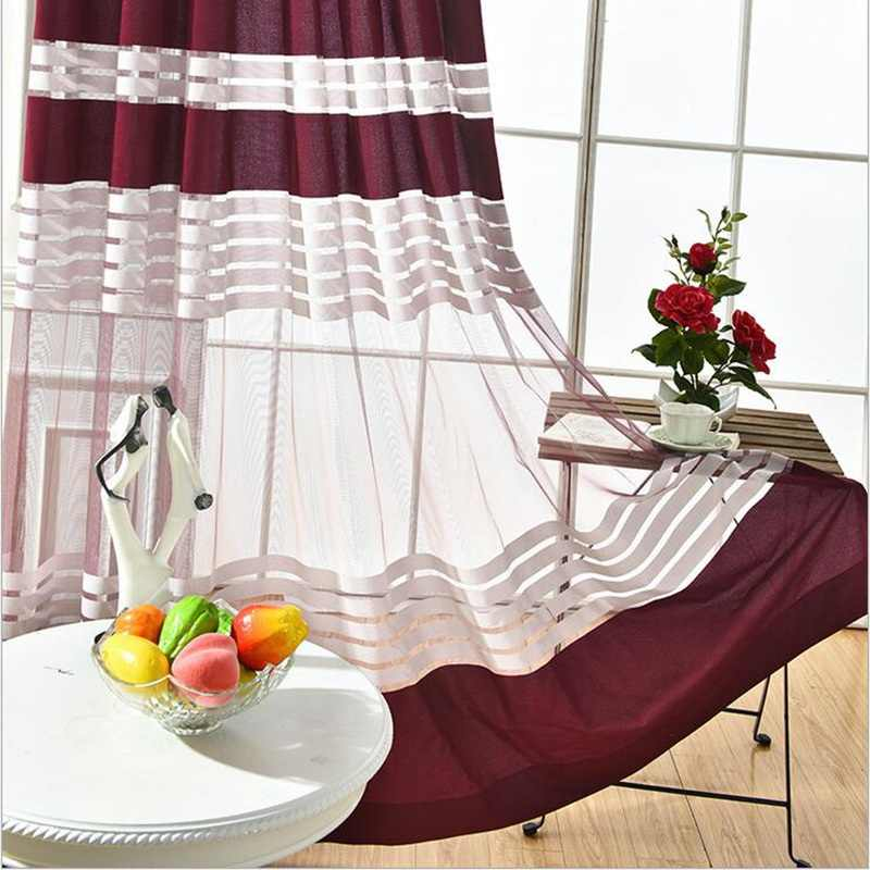 Tulle Curtains for Living Room Kitchen Curtains Room Separators European Dark Red Window Treatment Panel Tulle on Windows