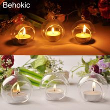 Behokic 4pcs/Set Dia 6cm Hanging Glass Tealight Candle Votive Holders Glass Terrarium Home Decor Indoor Garden DIY Gifts(China)