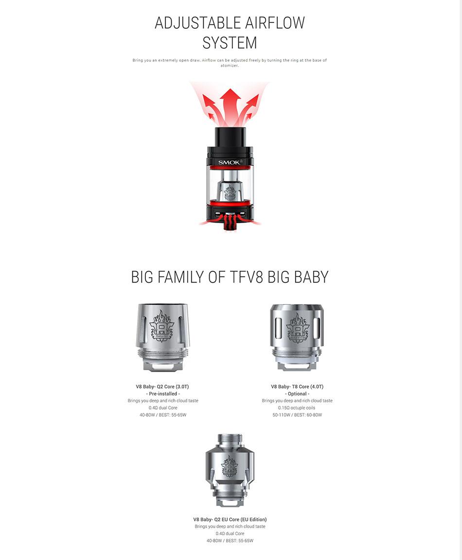 100% Original SMOK GX2/4 TC Vape Kit with 2W/350W Box Mod & TFV8 Big Baby Tank Atomizer Powered by 2/4 18650 Batteries E-cigs 18