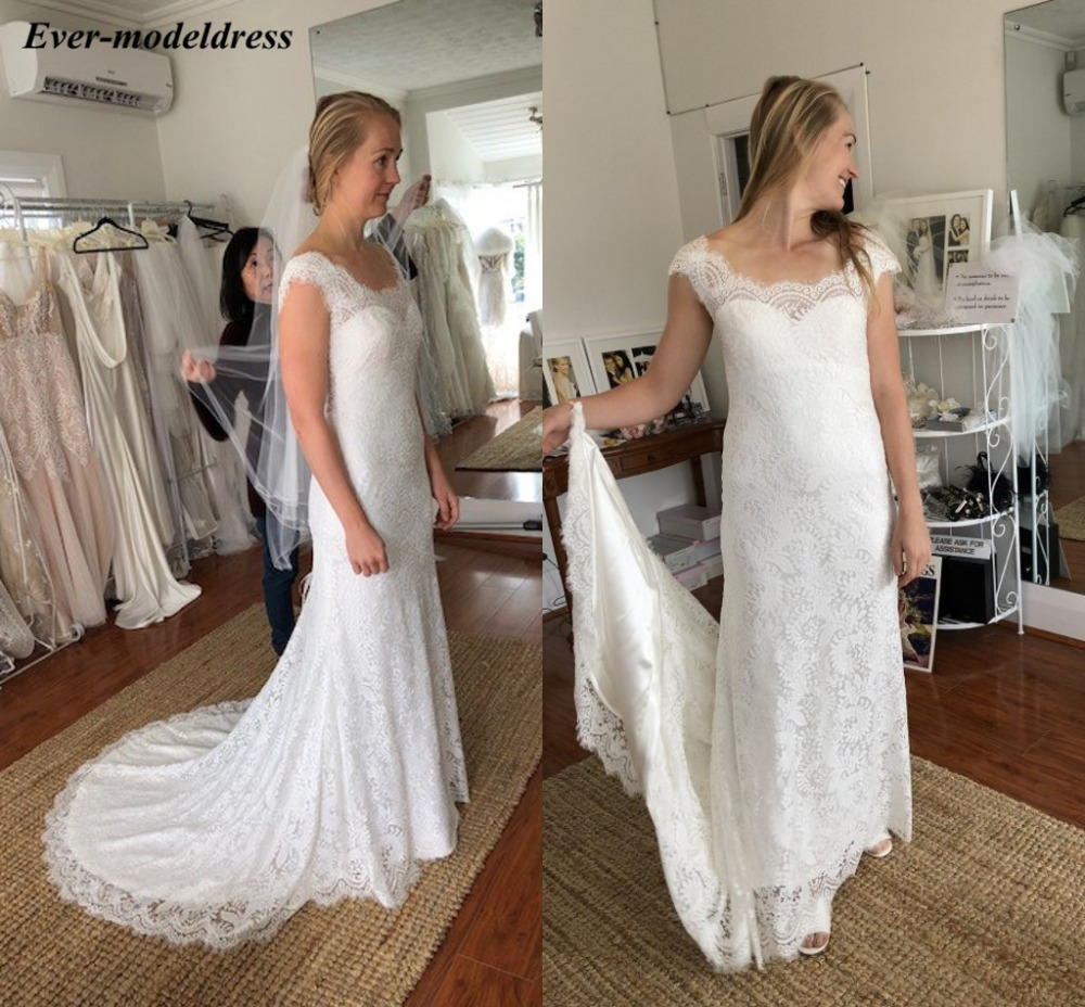 2019 Sheath Wedding Dress Lace Cap Sleeves Scoop Neck Zipper Back Elegant Bridal Gowns Sweep Train Robe De Mariee Plus Size
