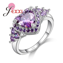 PATICO Nice Heart Shape Design AAAAA Purple Rhinestone Crystal Inlay Anillos Finger Ring with 925 Sterling Silver