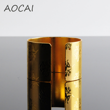 18K Gold Plated Napkin Rings Luxury Floral Pattern Hotel Decoration Napkin Rings For Wedding Napkin Holder Circular Napkin Rings