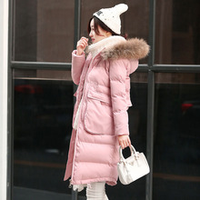 2016 New Women Winter Coat Big Real Fur Collar Long Padded Jacket Thick Warm Slim Solid Pink Gray Black Down Jackets Plus Size