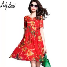 Red Print Silk One Piece Dresses of The plus Sizes 3XL 2017 New Summer Loose Floral Silk  Summer Dresses for Women