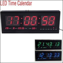 by DHL or EMS 5 pcs Upgrade LED Alarm Clock Digital Large Big LED Time Calendar Table Desk Wall Clock 48cm Blue/Red/Green(China)