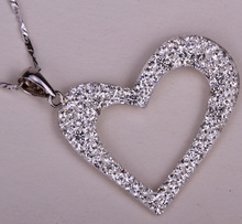 925 sterling silver heart necklace pendant W chain austrian crystal fashion jewelry valentine day gifts for women HN01