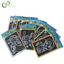 10pcs/lot Child Kids Magic Scratch Art Doodle Pad Painting Cards Toys Early Educational Learning Drawing Toys WYQ(China)