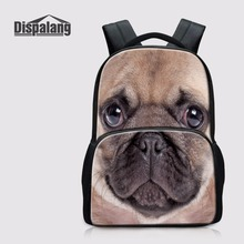 Dispalang Newest Design College Backpack 14 inch Laptop Bag Schoolbag Bulldog Pug-dog Bagpack Ladies Daypack Leisure Knapsack