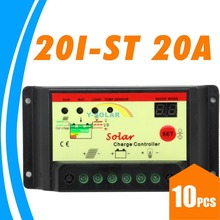 10pcs/Lots 20A 12V 24V auto 20I Solar Charge Controller Regulator Light Timer control solar pv system lead-acid battery