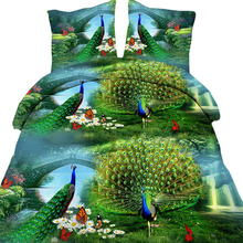 4pcs/set 3D Peacock Print Quilt Cover Polyester Fiber Comforter Bedding Cover Set