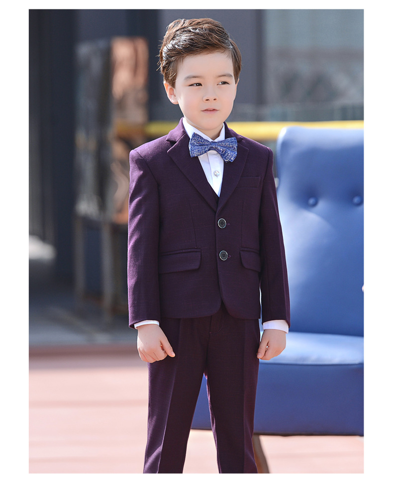 Formal Big Boys purple Blazer 4 pcs/set Wedding Suits for Boy Formal Dress Suit Boys wedding suit Kid Tuxedos Page boy Outfits