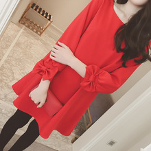 B1114 Han edition fat younger sister big size spring 2017 yards long render in the women's long sleeve dress is female