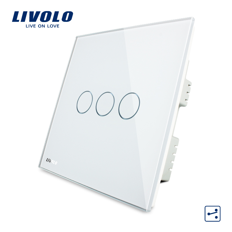 Livolo Wall Switch, White Crystal Glass Panel, AC 220-250V VL-C303S-61,3 Gangs 2Way,  Home Touch Screen Light  UK Switch<br>