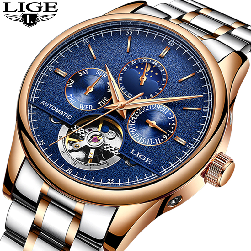 Relogio Masculino LIGE Watch Men Top Brand Luxury Automatic Mechanical mens watches Full Steel Business Waterproof Sport Watch<br>