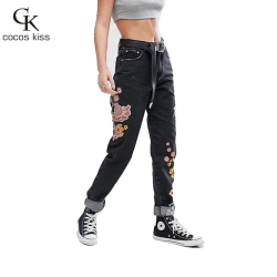 2016 New Chinese style Vintage trousers black all-match flower Embroidery elasticity women pants