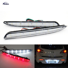 2pcs Clear Lens LED Rear Bumper Reflector Backup Tail Brake Fog Light For Mazda3 M3 2010-2013