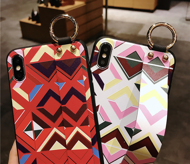 6 SoCouple Retro Grid Pattern Wrist Strap Phone Case For iphone 7 8 6 6s plus Case For iphone X Xs max XR Soft Silicone Case