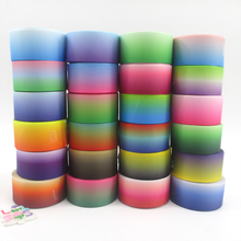 "(5yds per roll) 1""(25mm) gradient high quality printed polyester ribbon 5 yards,DIY handmade materials,wedding gift wrap,5Y49637(China)"
