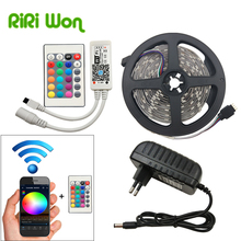 RGB Led Strip SMD5050 Led Light 15M 10M 20M Not Waterproof 5M WiFi Led RGB Ribbon Tape DC12V Flexible Led wifi strip set kit
