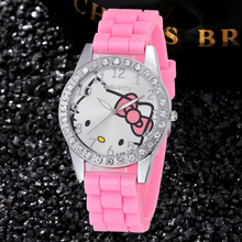 Silicone Lovely Hello Kitty Cartoon Watches Fashion Quartz Women Dress Watch Rhinestone Cat Girl Clock Relog Hodinky Ceasuri
