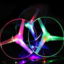 1pc Pull String Flying Toys Colorful LED Lights Up Frisbee Flying Saucer Disc Funny Glowing UFO Outdoor Toys for Children(China)