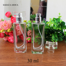 Wholesale and Retail 30ml Crystal Perfume Bottle Empty Rectangular Glass Perfume Bottle Portable Transparent/Clear Sprayer 10pcs