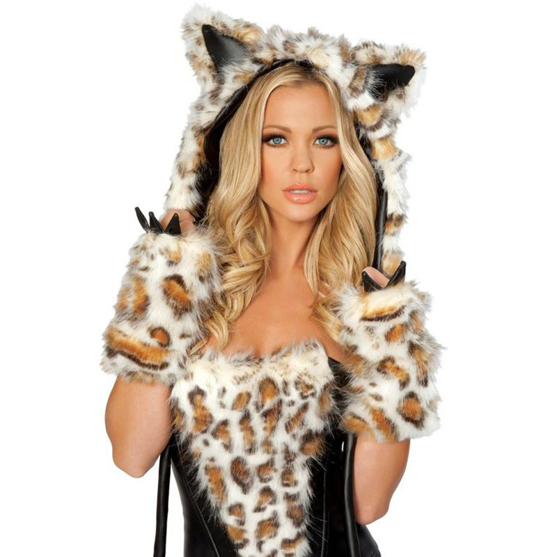 Women Leopard Outfit Fur Costume Party Fancy Halloween Hairy Wolf Hoodie Dress Cosplay Sexy Deluxe Frisky Animal Costume Brown (5)