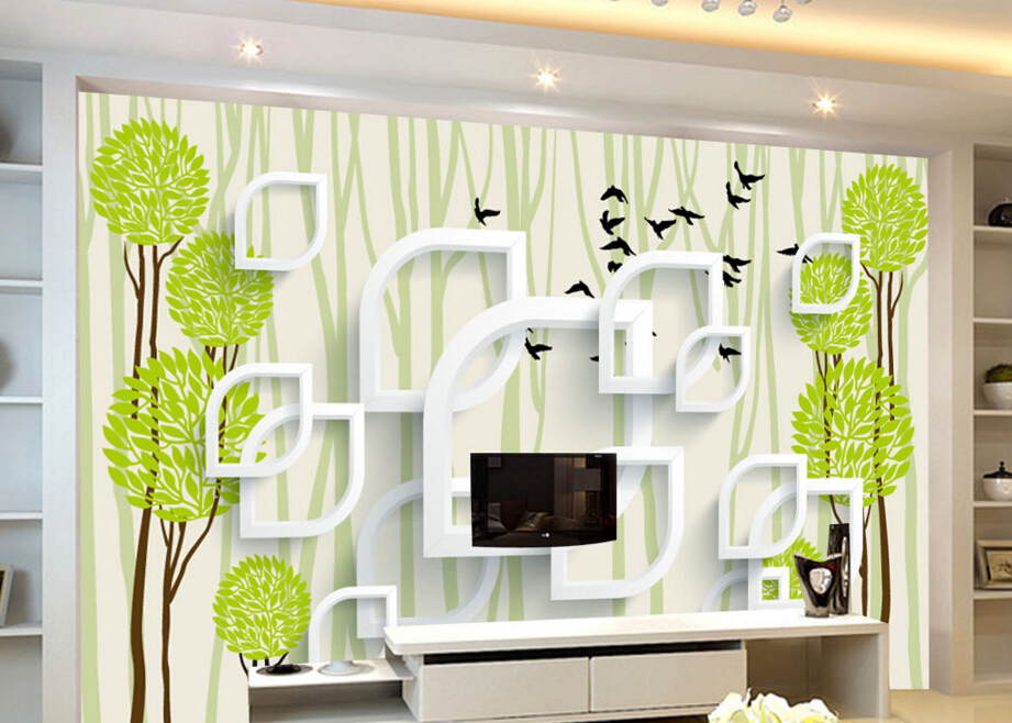Custom children wallpaper,3D abstract tree birds cartoon for childrens room bedroom TV backdrop waterproof papel de parede<br><br>Aliexpress