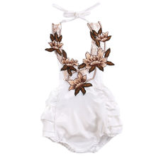 3D Flower Toddler Baby Girls Bodysuit Ruffle Jumpsuit Sunsuit Clothes New Arrival Girl Floral Summer Bodysuits Sunsuits Belt(China)