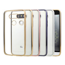 Silicone Case For LG G5 G4 K5 K10 Cover Transparent Plating Gold Ultra Thin Soft Clear Back Cover  For LG G5 K10 K5 G4 Coque