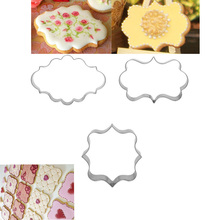 1 Set (3pcs)  Plaque Frame, Square Frame Plaque, Fancy Oval Stainless Steel Cookie Cutter Set  Cake Sugarcraft Decorating